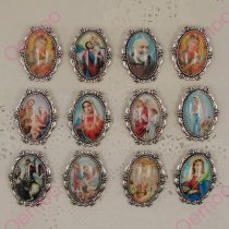 NEWS 10pcs 30*38mm Inner size 20*30mm Silver zinc alloy Saint  Rita  Rosary  favors Safety Brooch Rosaries Jewelry 140113