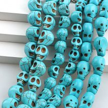 wholesale Manmade Stone Sky Blue Turquoises Howlite Skull Loose Spacer Seed Stones Beads DIY Bracelets Necklace Jewelry Findings