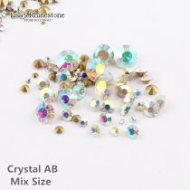 Crystal AB Mixed Size  Point Back Rhinestones Stone