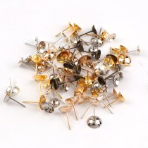 wholesale 6mm 200pieces  Metal Bowl Head Earrings Pin Needles Earnuts Ear Pad Plugging Back Stopper Setting DIY Earring back Earstud Findings