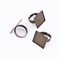 wholesale 10pcs 20mm Ring Settings Square Brass Antique Bronze Plated Cabochon Cameo Base Bezels Tray Setting For DIY Earring Gift