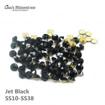 Jet Black Point Back Rhinestones