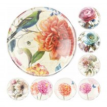 2017 Handmade 6 Size Glass Mixed Colorful Flower World Flatback Cameo Cabochon Domed DIY Jewelry Charm Photo Pendant Setting