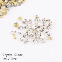 Crystal  Clear Mixed Size  Point Back Rhinestones Stone