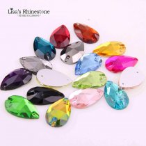wholesale 10 Pieces 13x22mm Sewing Teardrop Rhinestone Glass Sew On Flatback 2 Holes Crystal Stones Clothes For DIY Wedding Dresses Crafts