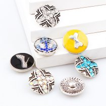 2017 New 6pcs High Quality Crystal Bone&Flower&Shoes Glass Metal Snaps buttons DIY Snap Charms Jewelry Bracelet&Bangle