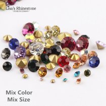 Mixed Color Mixed Size  Point Back Rhinestones Stone