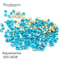 Aquamarine Color Point Back Rhinestones
