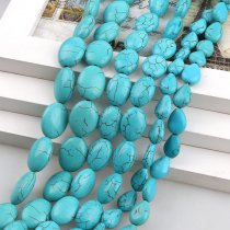 wholesale Single Sale Manmade Stone Sky Blue Turquoises Oval Teardrop Howlite Loose Stones Beads DIY Bracelets Necklace Jewelry Findings