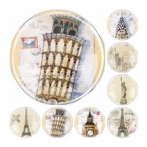 2017 Handmade 6 Size Glass  Famous Buildings in the World Flatback Cameo Cabochon Domed DIY Jewelry Charm Photo Pendant Setting