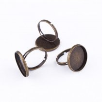 wholesale Factory Price 10 pieces 16mm Adjustable Flat Rings Pad Bases Blanks Glue On cabochon setting rings For Jewelry Making