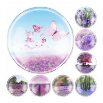 2017 Handmade 6 Size Glass Lavender Flower Flatback Cameo Cabochon Domed DIY Jewelry Charm Photo Pendant Setting