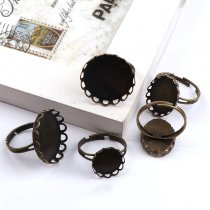 10pieces  Lace Flower Round Ring Flat Pad bezel Embellishments Cabochon Bases