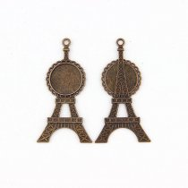 Antique Bronze Plate Eiffel Tower  Necklace Pendant Setting CabochonCameo BaseTray Bezel Blank Fit 20*20mm Jewelry Making 5pcs