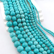 wholesale Manmade Stone Sky Blue Turquoises Howlite Round Loose Spacer Seed Stones Ball Beads DIY Bracelets Necklace Jewelry Findings