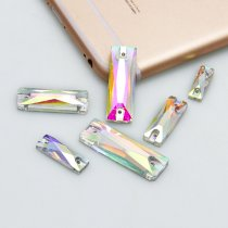 2017 New Rectangle Baguette Sew On Stones Crystal Clear AB Flatback 2 holes 5x15mm~10x30mm  Sewing Glass Rhinestone DIY Dress