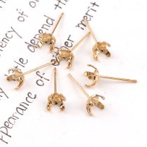 wholesale 6mm 20pieces  Metal Earrings Four Claws Clasp Blank Base Claw Setting DIY Crystal Rhinestone Earring back Earstud Jewelry Findings