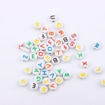 wholesale 3.5x6.5mm  New Children Handcraft Department Mix Color Alphabet Letter Round Resin Beads Cube DIY Bracelet Accessory jewelry Findings