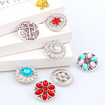 2017 New Fashion 6pcs High Quality Crystal Mixed Cross&Flower Glass Metal Snaps buttons DIY Snap Charms Jewelry Bracelet&Bangle