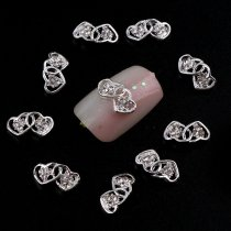 Hot Sale 7*12mm 5pcs 3D Nail Arts Silver Zinc Alloy Tow Hearts Shiny Rhinestones Metal Decor Charms For DIY Nail Art 603