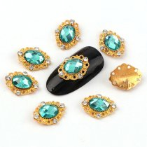 2017 New 5 Pcs 12*14mm Diamond-shape Gold Metal Green Lake Rhinestone 3D Nail Arts Nail Decorations High Quality 147