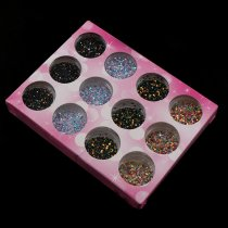 2017 12 Pcs/Set Crystal AB Nail Glitter Round Sequin Carving Pattern Power 3D Nail Art Dust Gem Decorations UV Gel Polish Tips