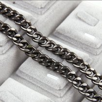 1 Meter Aluminum Metal Gun Black Flat Byzantine Necklace  Chains