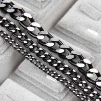 Aluminum Metal Black Flat Byzantine NecklaceTwisted Chains