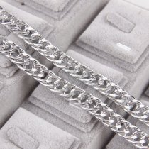 wholesale 1 Meter 	Aluminum 2x10.4x14mm Metal Silver Necklace Curb Chains Bulk Fit Bracelets Findings Double Open Link Chain For DIY Jewelry Making