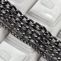 wholesale Metal Black Flat Byzantine Necklace Twisted Chains Curb Chains Bulk Fit Bracelets Open Link Chain For DIY Jewelry Making