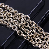 wholesale 1 Meter 2.0x7.8x10mm Metal Gold O Shape Textured Cable Necklace Curb Chains Bulk Fit Bracelets Open Link Chain DIY Jewelry Making