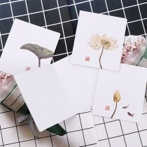 wholesale Vintage Ink Painting Lotus Kraft Paper Greeting Postcards Wishes For DIY Festival Greet Cards Gift Stationery School Supplies