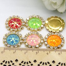 wholesale 10pcs 15x15mm Mixed AB Color Resin Snowflake Flatback Gold Metal Rhinestone Cabochon Base Cameo Setting DIY Jewelry Charms