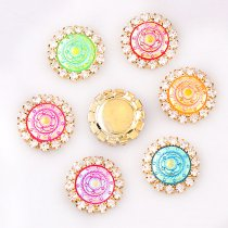 10pcs 15x15mm  Resin Round Flatback Gold Metal Rhinestone Cabochon Base