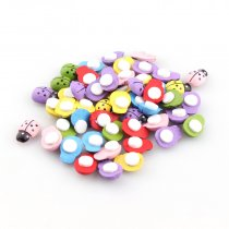 50Pcs 19.5mm  Fashion Wooden Ladybird Ladybug Sticker Children Kids Painted