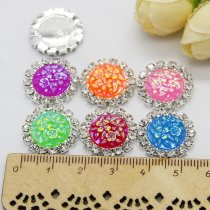 10pcs 15x15mm  Resin Round Flower Flatback Silver Metal Rhinestone Cabochon Base