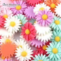 50pcs/lot Mix Color  Resin Daisy Flower DIY Flatback Scrapbooking