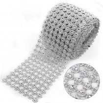 2017 8 Rows 14mm Sunflower Rhinestone Mesh Trim (Without Rhinestone) Silver ABS Plastic Sew On DIY Dress Jewelry