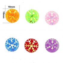 10x10mm  Mixed AB Color Round Snow flake  Resin DIY Accessory