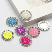 wholesale 10pcs 15x15mm Mixed AB Color Resin Babysbreath Flatback Silver Metal Rhinestone Cabochon Base Cameo Setting DIY Jewelry Charms