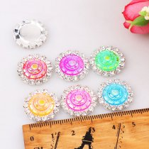 wholesale 10pcs 15x15mm Mixed AB Color Resin Round Flatback Silver Metal Rhinestone Cabochon Base Cameo Setting DIY Jewelry Charms