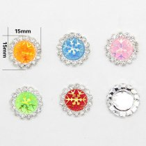 wholesale 10pcs 15x15mm Mixed AB Color Resin Snowflake Flatback Silver  Metal Rhinestone Cabochon Base Cameo Setting DIY Jewelry Charms