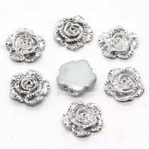 40pcs 11x11mm Resin Silver Rose Flower Flatback Appliques for DIY  Craft/Scrapbooking