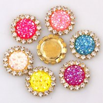 wholesale 10pcs 15x15mm Mixed AB Color Resin Babysbreath Flatback Gold Metal Rhinestone Cabochon Base Cameo Setting DIY Jewelry Charms