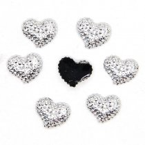 40pcs 8x10mm Silver Crooked Heart Black Flat Back Resin DIY Craft/Scrapbooking