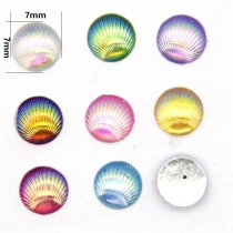 40pcs 7x7mm Mixed Lots Shell Line Flatback Appliques DIY Craft/Scrapbooking
