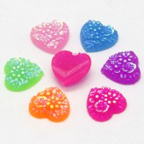 40pcs 10x10mm  Mixed AB Color Heart Tertiary flower  Resin DIY Accessory