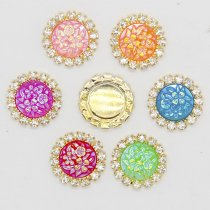 wholesale 10pcs 15x15mm Mixed AB Color Resin Round Flower Flatback Gold Metal Rhinestone Cabochon Base Cameo Setting DIY Jewelry Charms