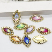 wholesale 10pcs 10x20mm Mixed AB Color Resin Horse Eye Flatback Gold Metal Rhinestone Cabochon Base Cameo Setting DIY Jewelry Charms