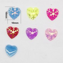 40pcs 10x10mm  Mixed AB Color Heart Snowflake  Resin DIY Accessory